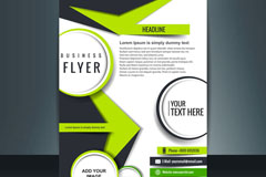 绿色箭头商务宣传单矢量素材