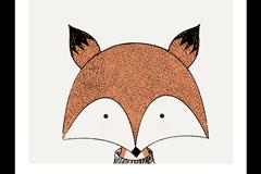 卡通小狐狸头像挂画矢量素材