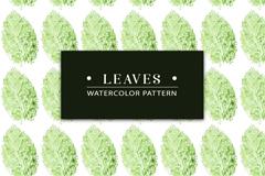 水彩绘椭圆形绿叶无缝背景矢量图