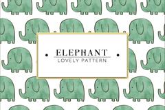 水彩绘大象无缝背景矢量素材