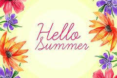 水彩绘夏季花卉边框矢量素材