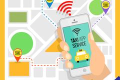 手机打车应用和地图矢量素材