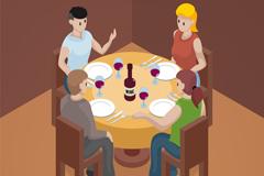 4个等待就餐的人物矢量素材