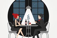 创意餐馆进餐的男女矢量素材