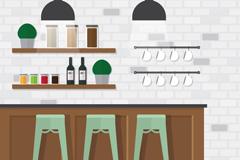 扁平化咖啡馆吧台设计矢量素材