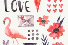 12款水彩绘爱心元素矢量素材