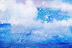 水彩绘怒海波涛风景矢量素材