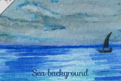 水彩绘大海上的帆船风景矢量素材