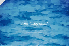 水彩绘蓝色海面风景矢量素材