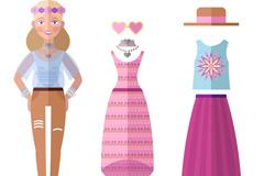 扁平化女郎和2套服饰矢量素材
