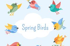 8款卡通春季小鸟矢量素材