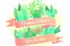水彩绘多肉植物与条幅婚礼标签矢