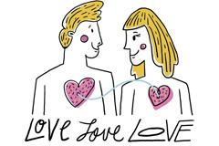 彩绘爱心相连情侣设计矢量素材
