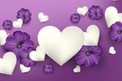 紫色花卉和白色爱心矢量素材
