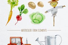 9款清新水彩绘农场元素矢量素材