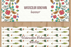 2款水彩绘花卉和箭头banner矢量