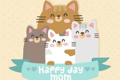 可爱猫咪母亲节贺卡矢量素材