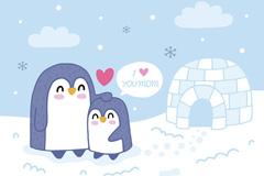 可爱母亲节企鹅矢量素材