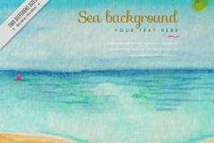 水彩绘平静海面和沙滩矢量素材