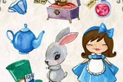 7款水彩绘爱丽丝童话元素矢量图