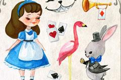 7款创意爱丽丝梦游仙境元素矢量