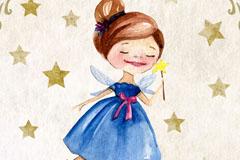 水彩绘童话小仙子矢量素材
