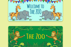 2款卡通动物园banners矢量素材