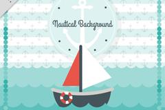 大海中的帆船插画矢量梦之城娱乐