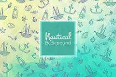 彩绘自然与航海元素无缝背景矢量素材