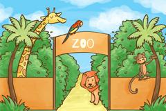 彩绘动物园大门和动物插画矢量素材