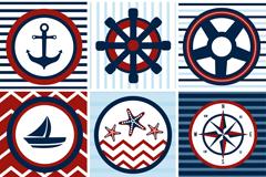 6款创意航海标签元素矢量素材