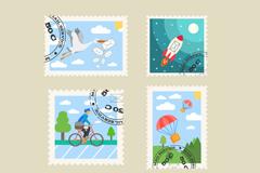 6款清新盖邮戳的邮票设计矢量素材