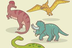 4种侏罗纪卡通恐龙设计矢量素材
