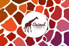 彩色长颈鹿剪影和皮纹背景矢量w88优德