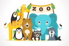 7只可爱动物园动物合影矢量素材