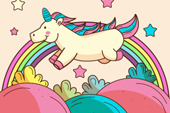 卡通奔跑的独角兽和彩虹矢量素材