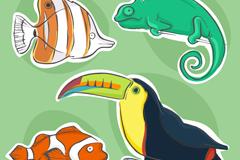 4款彩绘动物贴纸矢量素材