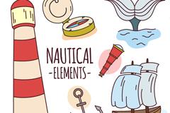 6款彩绘航海元素矢量素材