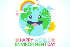 可爱地球笑脸世界环境日贺卡矢量素材