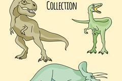 3款爬行类动物恐龙设计矢量素材