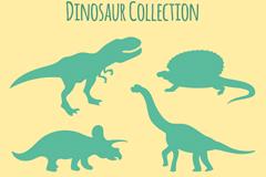 6款绿色恐龙剪影矢量素材