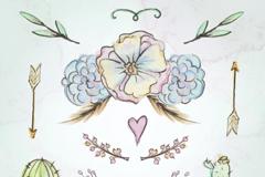 7款水彩绘婚礼植物和装饰矢量图