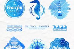 8款蓝色水彩绘航海标志矢量素材