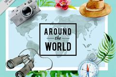 水彩绘环球旅行元素和世界地图矢量图
