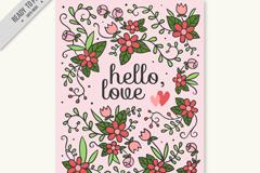卡通花卉爱的卡片矢量素材