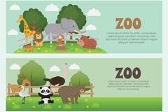 2款可爱动物园动物banner矢量素材