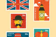 5款英国元素邮票矢量素材