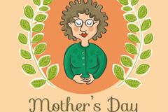 彩绘母亲节日祝福卡矢量素材