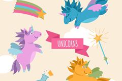 3只彩色独角兽和魔法棒设计矢量
