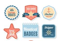 8款创意航海标志标签矢量素材